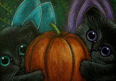 """Black Fairy Kittens and Pumpkin"" par Cyra R. Cancel"