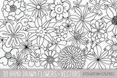 30 Hand Drawn Flowers Vector Clipart by Colors on Paper on Creative Market