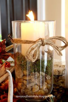 centerpice decorations jar rocks moss candle | Decorations or centerpiece with rocks and moss