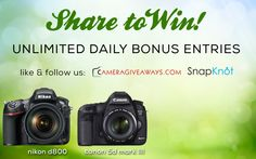 WIN YOUR CHOICE: Nikon D800 OR Canon 5D Mark III! #photography http://win.cameragiveaways.com/c/djd0ag10 @cameragiveaways @snapknot