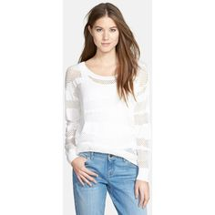 Petite Women's Vince Camuto Mix Stitch Mesh Layering Sweater (115 AUD) ❤ liked on Polyvore featuring tops, sweaters, petite, white striped sweater, vince camuto, white top, stripe sweater and stitch sweater