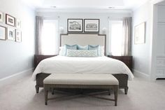 Aqua and Gray Master bedroom