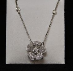 14 K White Gold and Diamond Flower Pendant by shopevintage on Etsy