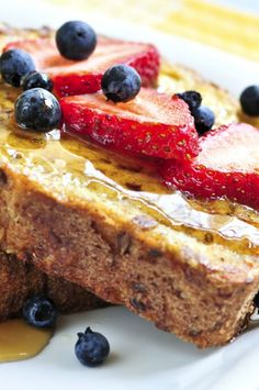 Skinny French Toast and Fruit: We make a few changes here, like using a natural sugar alternative and pure maple syrup!