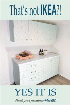 Beautiful ideas for IKEA hacks. Customise your regular IKEA Metod laundry into a bespoke piece.
