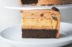 This delectable combo puts a spin on two classics: dense devil's food cake and rich cheesecake. Throw in some cookie dough, and what could be better!?  Get the recipe from Amy Bites.   - Delish.com