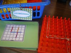I found these great geoboard number-making templates here. Students can practise making numbers, hand-eye coordination, and tactile learning...all in one.