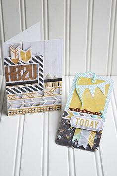 *We R* Indian Summer Card & Tag - Scrapbook.com- HB2U! A hip handmade birthday card and gift tag made using the Indian Summer collection