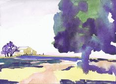 Original Art Watercolor Painting California  Landscape by jcstrong