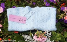Knitted Baby Cardigan In Aster Blue