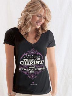 All Things Through Christ - Women's V-Neck - Black on SonGear.com - Christian Shirts, Jewelry