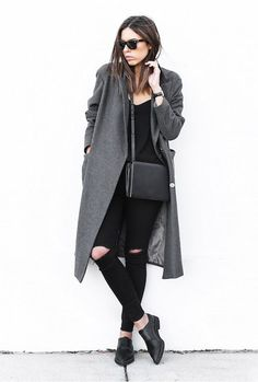 Shop this look on Lookastic:  http://lookastic.com/women/looks/sunglasses-coat-tank-crossbody-bag-skinny-jeans-derby-shoes/7734  — Black Sunglasses  — Charcoal Coat  — Black Tank  — Black Leather Crossbody Bag  — Black Ripped Skinny Jeans  — Black Leather Derby Shoes