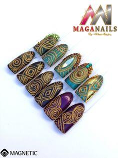 Nail Art, Rinesthone, Foil, Magnetic Nails, Maga