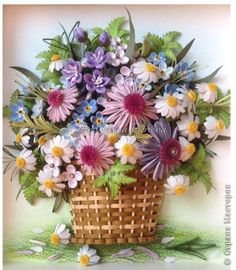 Painting mural drawing Bumagoplastika Summer Quilling paper strips in a basket Pastel Pencil Wire Photo 6 Paper Quilling Flowers, Quilling Work, Paper Quilling Designs, Quilling Paper Craft, Tissue Paper Flowers, Quilling Patterns, Paper Crafts, Quilling Ideas, Paper Quilling For Beginners
