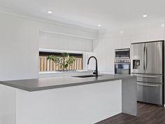 New dark grey kitchen benchtop ideas Taupe Kitchen Cabinets, Kitchen Benchtops, Kitchen Countertops, Concrete Countertops, Kitchen Furniture, Kitchen Interior, Kitchen Design, Modular Furniture, Furniture Stores