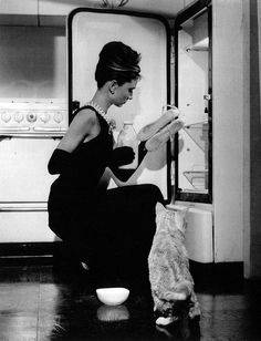 "Audrey and no-name cat in scene from ""Breakfast at Tiffany's"", 1961"