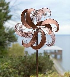 Wind-Weather-Wind-Sculptures-Copper-Colored-Windmill-Metal-Spinner