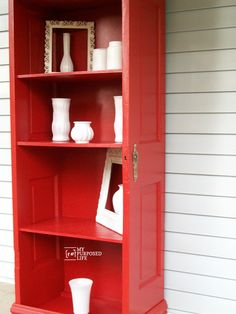 Door repurposed bookshelf made from a vintage door. You can't buy furniture like this!
