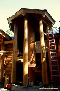 Custom Handcrafted Log and Timber Frame Homes During Construction, British Columbia, Canada. Western Red Cedar & Douglas Fir Handcrafted Log Homes Timber Frame Homes, Western Red Cedar, Log Homes, Logs, Future House, House Plans, Spiral Stair, Stairs, Construction