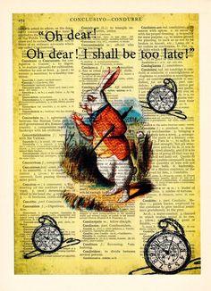 Illustrationen -  Alice im Wunderland-Kunst-Abbildung - ein Designerstück von Dictionary-vintage-book-page bei DaWanda