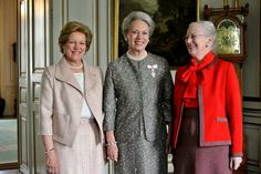 queensconsotofengland:  Danish Sisters-Queen Anne Marie, Princess Benedikte and Queen Margrethe