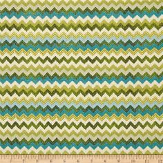$12 Refresh and modernize any home decor with this heavy weight jacquard fabric. Perfect fabric for revitalizing an old piece of furniture and updating it with a new look. This fabric is an appropriate weight for some window treatments (cornice boards, roman shades), accent pillows, upholstering furniture, headboards and ottomans.  Colors include turquoise, green, cream, and gold. The chevron stripes run from selvedge to selvedge, as imagined.