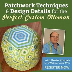 Webinar: Patchwork techniques & design details for the perfect custom ottoman. June 19 - pm (ET) w/ Frenzy Dog Designs (Will be recorded for later use) Dog Design, Slipcovers, Christmas Bulbs, Ottoman, Stripes, June 19, Quilts, Learning, Sewing