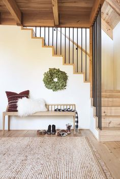Stairs In Living Room, Living Room Shop, Living Room Decor, Coffee Table Candles, Holiday Checklist, Modern Stairs, Modern Stair Railing, House Smells, Indoor Outdoor Rugs