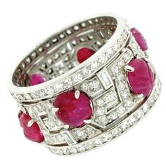 Art Deco Carved Ruby Diamond Band.