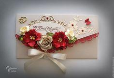 Купить Конверт для денег «С Днем Свадьбы» - бежевый, бордовый, Конверт для денег, конверт