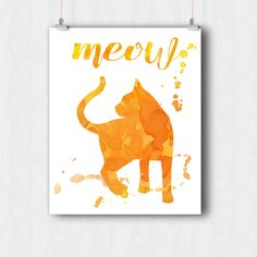Meow Watercolor Cat Print - Printable Wall Art - Red 8 x10 Minimalist Silhouette Animal Print - Instant Download - Digital Print - Gift Idea by ratitaprints on Etsy