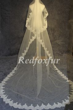 2014 new cathedral veil lace yarn white ivory bridal by Redfoxfur