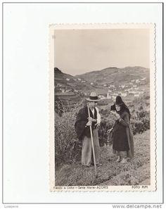 PORTUGAL - AÇORES AZORES - [#212] - SANTA MARIA - FIANDO O LINHO COSTUMES - FOTO PEPE - CARIMBO CORREIO AEREO AEROPORTO