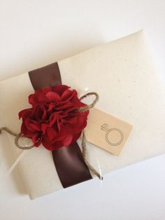 Engagement Party Guest Book, Red Hydrangeas, Chocolate Brown Ribbon, Hand-stamped Diamond Ring Wood Tag - by CoutureLife