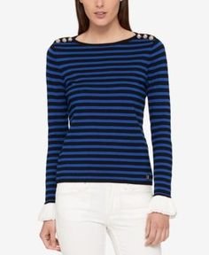 Tommy Hilfiger Ruffle-Sleeve Sweater, Created for Macy's - Gray XL