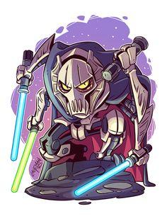 Chibi Grievous by Derek Laufman Star Wars Fan Art, Star Trek, Star Wars Drawings, Cartoon Drawings, Cartoon Art, Star Wars Desenho, Star Wars Karikatur, Star Wars Zeichnungen, Star Wars Cartoon