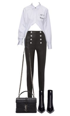 """""""Untitled #5625"""" by theeuropeancloset on Polyvore featuring Balmain, Alexander Wang and Yves Saint Laurent"""