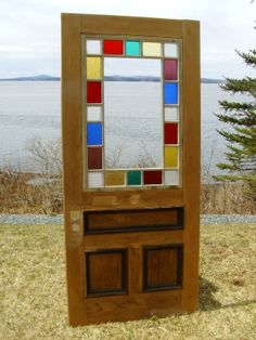 """Architectural Antiquities - 140. Victorian Era cottage style stained glass ext. door, 36"""" x 80"""", $1050.00"""