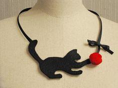 red felt fashion jewelry Amusing felt kitty felt by FiveOClocks