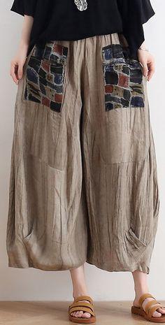 2020 summer original design linen nude patch retro wide leg pants Cuffed Pants, Wide Leg Pants, Trousers, Plus Size Pants, Plus Size Tops, Cotton Pants, Linen Pants, Cute Fashion, Fashion Outfits