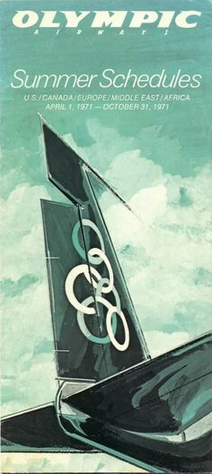 Olympic Airways summer timetable, via Vintage Advertising Posters, Old Advertisements, Vintage Travel Posters, Vintage Ads, Vintage Airline, Olympic Airlines, Good Old Times, Vintage Graphic Design, Poster Ads