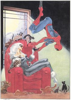 Some images of Spiderman by Charles Vess. Two prints from First Team Press and the cover to Web of Spiderman (April I never. Spiderman Black Cat, All Spiderman, Black Cat Marvel, Amazing Spiderman, Comic Book Characters, Comic Character, Comic Books Art, Comic Art, Pop Culture Art