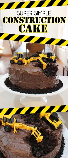 This Construction Themed Birthday Cake is perfect for the heavy equipment operator in your life! (Or old obsessed with loaders and back hoes!) This cake is super easy to make but will be a huge hit at the party! Dump Truck Cakes, Dump Trucks, Beautiful Chocolate Cake, Truck Birthday Cakes, Easy Boy Birthday Cake, Digger Birthday Cake, Birthday Ideas, Birthday Banners, Third Birthday