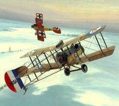 1916 Airco DH2 Lanoe Hawker vs Albatros DII von Richthofen - Brian Knight - Windsock