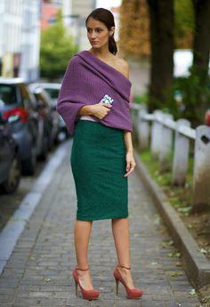 Зеленая юбка+сиреневый