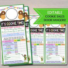 EDITABLE Girl Scout Cookie Door Hanger,  INSTANT DOWNLOAD, Troop Leader Forms, Girl Scout Printables, Girl Scout Cookies Sales, Cookie Booth