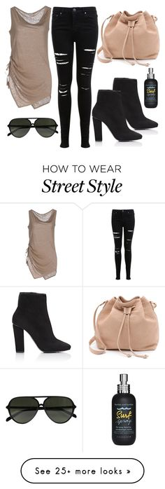 """""""street style: nude & black"""" by alexiszadeh on Polyvore featuring Miss Selfridge, Henry Cotton's, MR., Giuseppe Zanotti, CÉLINE, Bumble and bumble, StreetStyle, rippedjeans, StreetChic and fallfashion"""