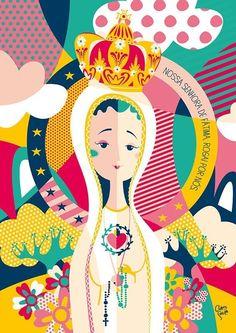 Pôster Nossa Senhora de Fátima, da Coleção Bença, criada pela ilustradora Clau Souza https://loja.tenhaborogodo.com.br/poster-nossa-senhora-de-fatima