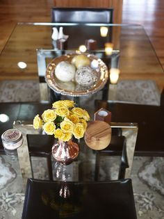 Simple spring updates at home: add a touch of color to your living or dining space by grouping a handful of small flowers in our Santa Clara del Cobre Copper Bud Vase.