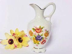 Vintage Japanese Floral Pitcher Vase  Retro Decor  by EdenKitsch